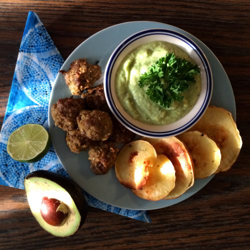 Lamb meatballs + Avocado Tzatziki