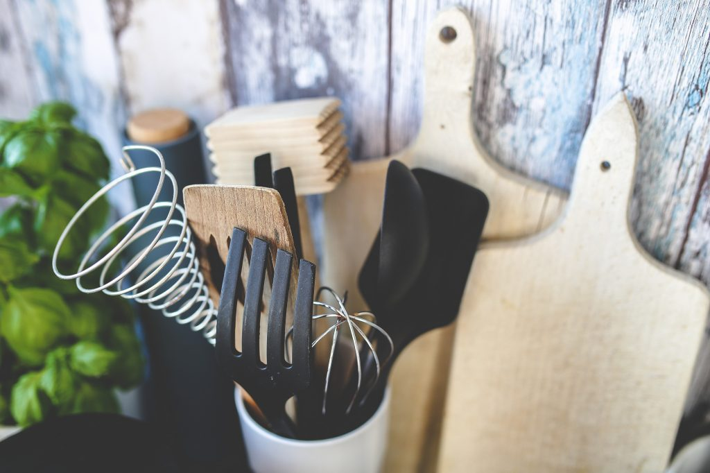 kitchen utensils and cutting boards