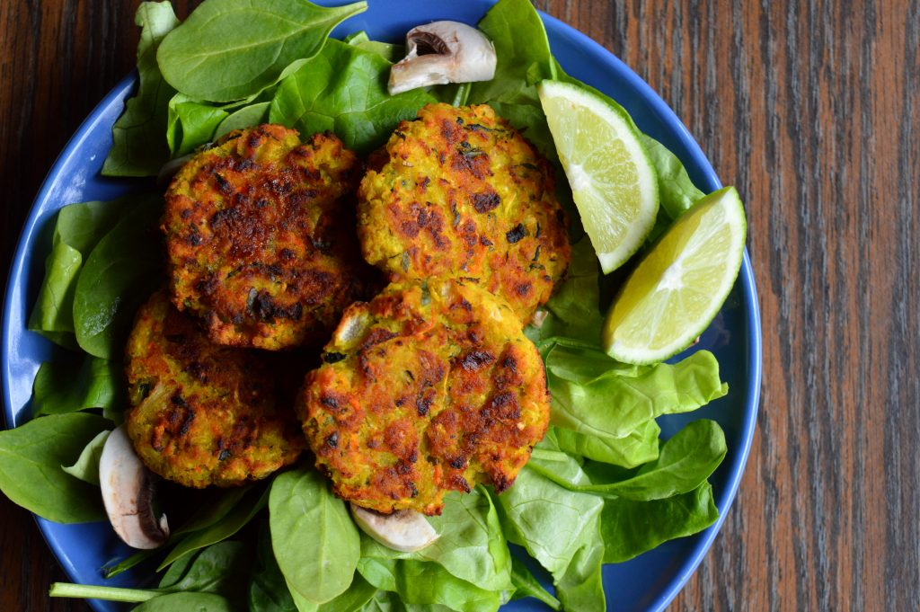 Zucchini fennel fritters, with greens