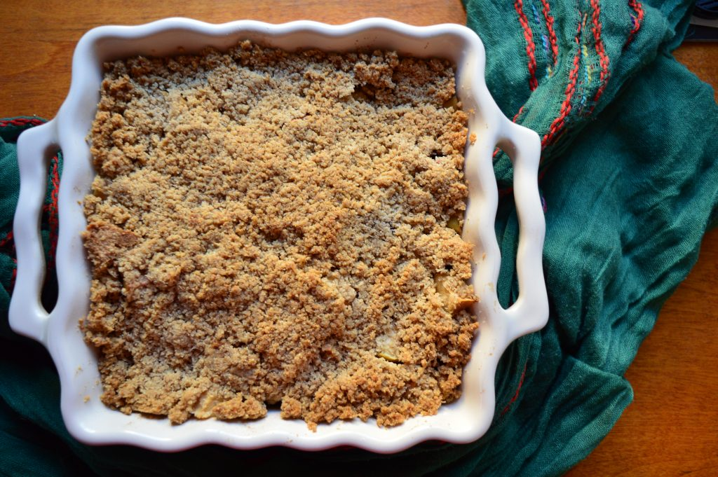 Blackberry apple crumble, green scarf