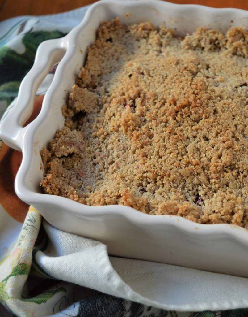 Blackberry Apple Crumble, scalloped dish