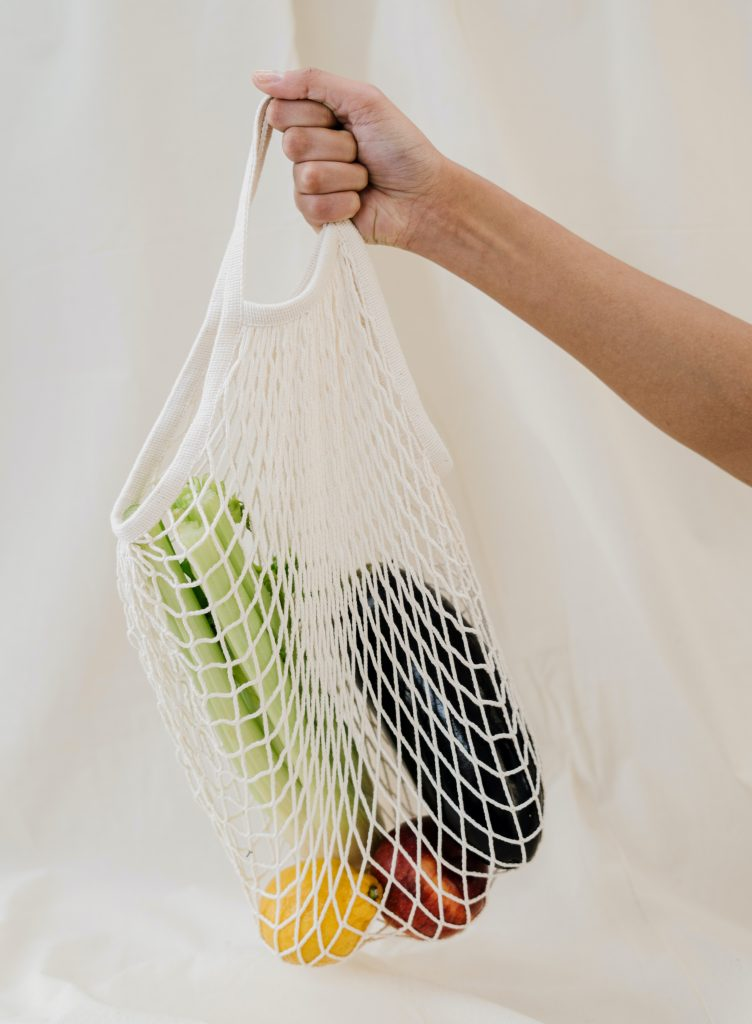 AIP Certified Coach, produce in a cotton net bag