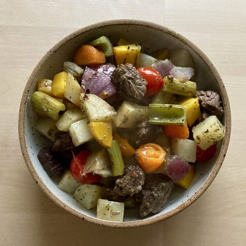 Sheet Pan Beef Stew, in bowl