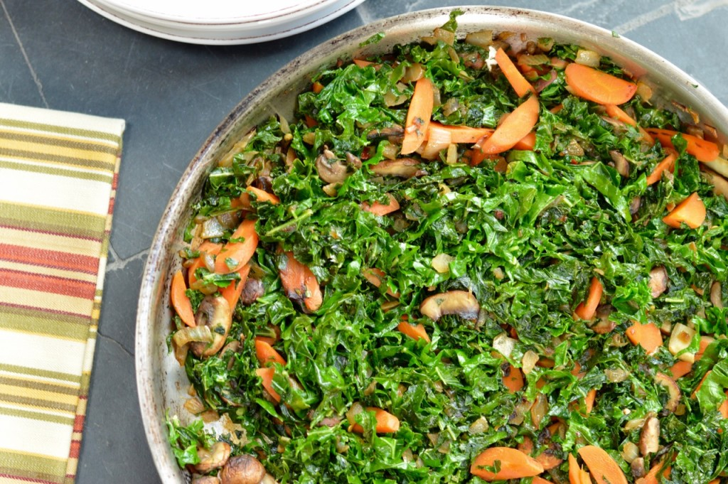 Sauteed Kale with Mushrooms and Carrots